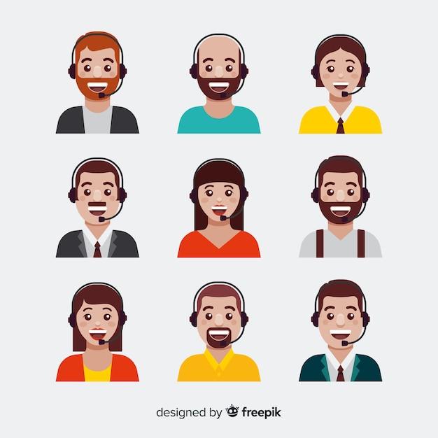 Ensemble d'avatars de centre d'appels dans le style plat Vecteur gratuit