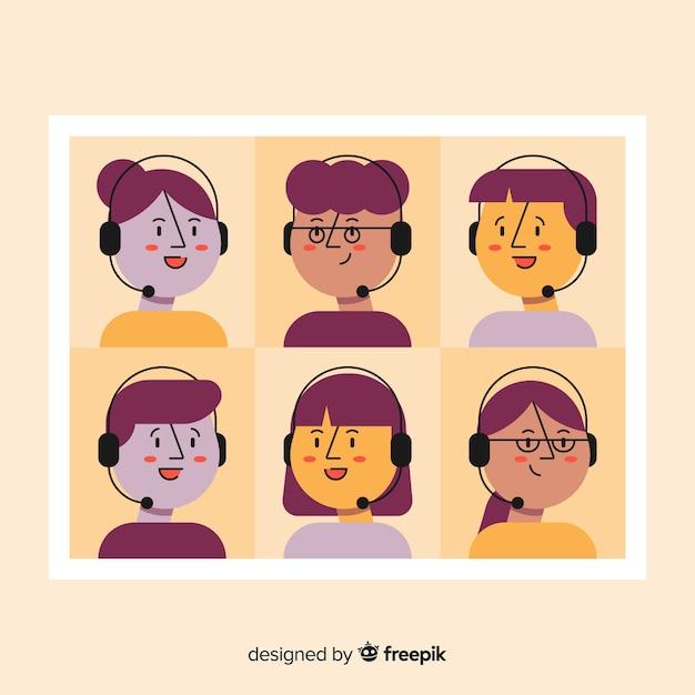 Ensemble d'avatars de centre d'appels Vecteur gratuit