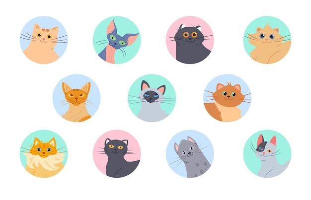 Ensemble D'avatars De Chats Vecteur Premium