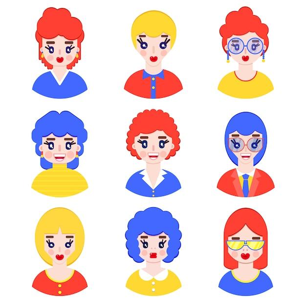 Ensemble d'avatars de filles dans le style plat sur blanc Vecteur Premium