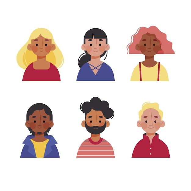 Ensemble D'avatars De Personnes Différentes Vecteur gratuit