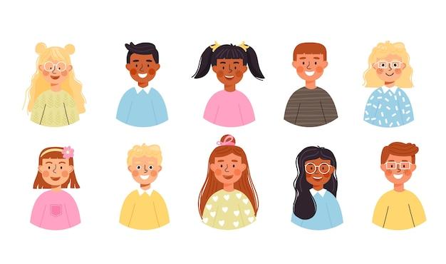 Ensemble D'avatars Pour Enfants. Vecteur Premium