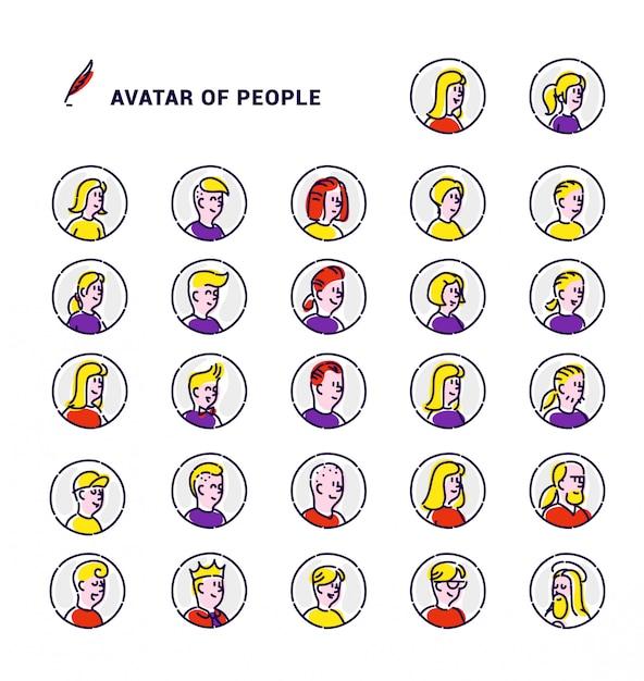 Ensemble d'avatars de vecteur d'icônes d'hommes et de femmes. Vecteur Premium
