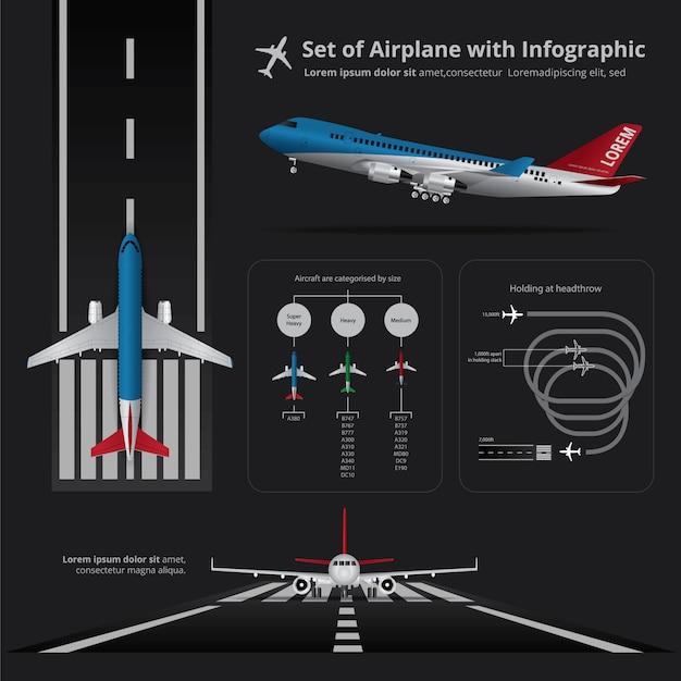 Ensemble d'avion avec illustration vectorielle infographie isolé Vecteur Premium