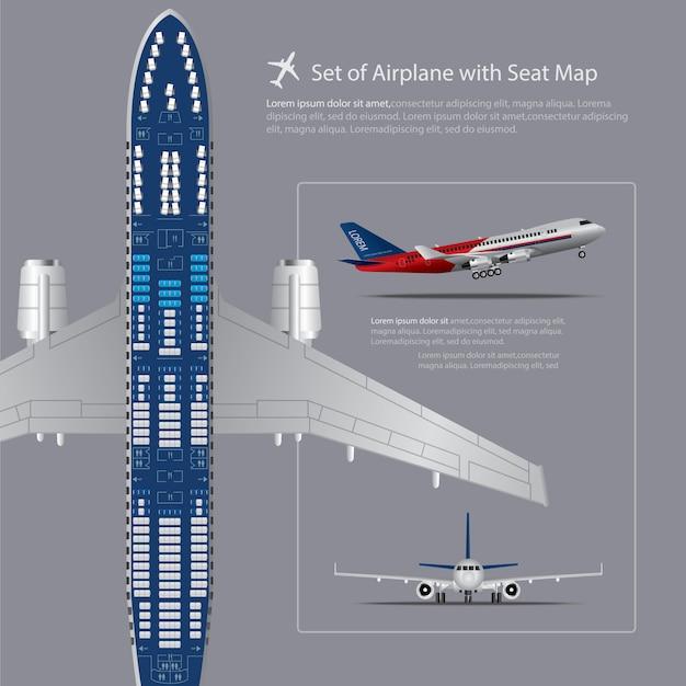 Ensemble d'avion avec illustration vectorielle de siège carte isolé Vecteur Premium