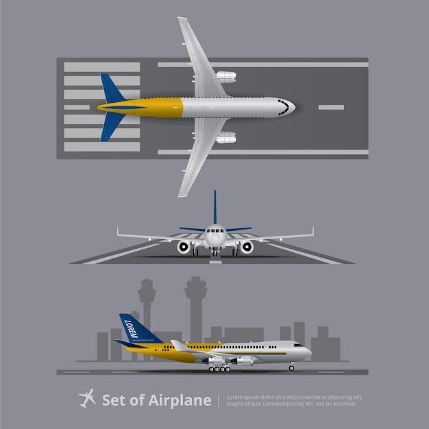 Ensemble d'avion sur piste isolée vector illustration Vecteur Premium