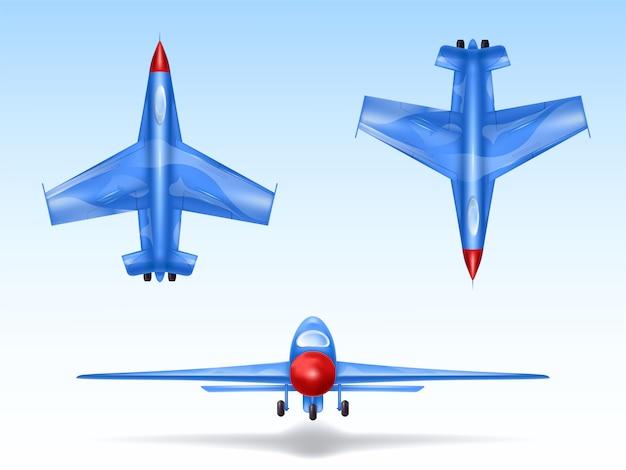 Ensemble d'avions militaires, des avions de combat. combattre l'avion dans différentes vues Vecteur gratuit