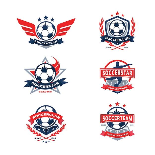 Ensemble de badge du club de football, emblème de l'équipe de football Vecteur Premium