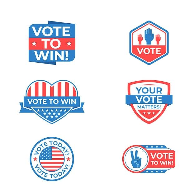 Ensemble De Badges Et Autocollants De Vote Vecteur gratuit
