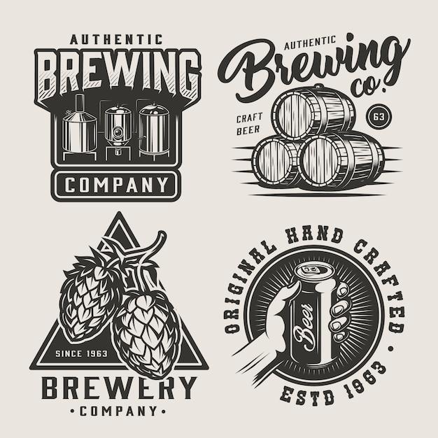 Ensemble De Badges Monochromes De Bière Vintage Vecteur gratuit