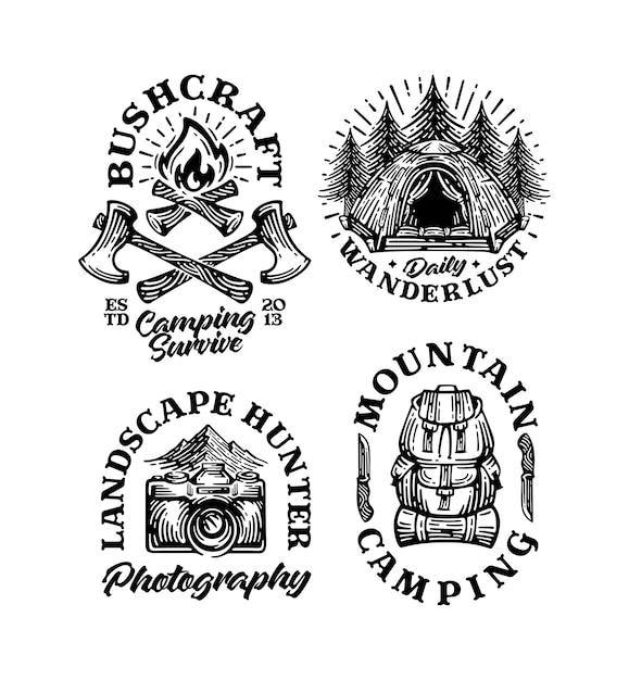 Ensemble De Badges De Montagne De Lot De Logo Camp Vintage Vecteur Premium