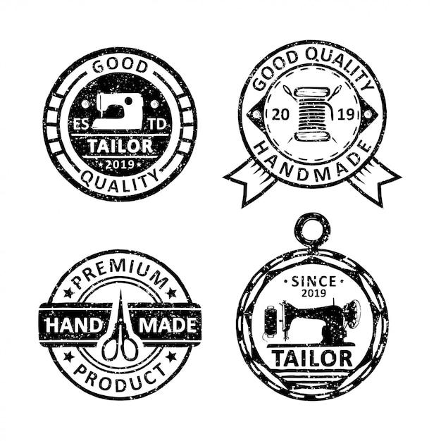 Ensemble de badges de tailleur vintage, emblèmes et logo Vecteur Premium