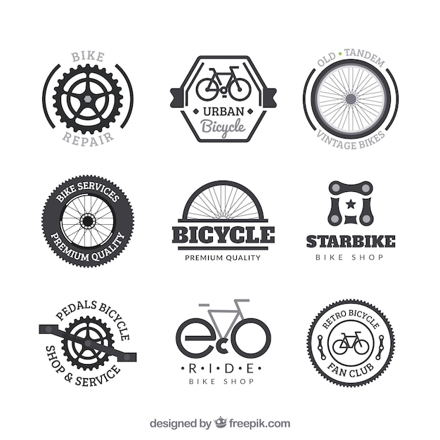 Ensemble de badges de vélo au style vintage Vecteur gratuit