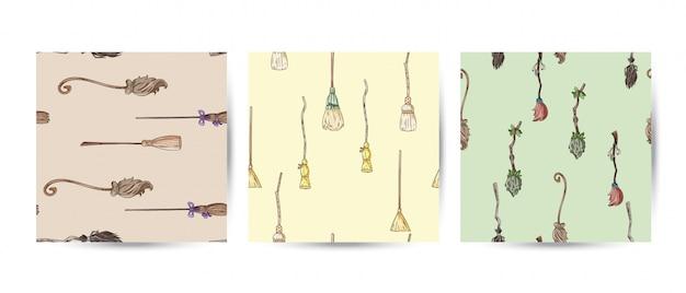 Ensemble De Balai Doodles Modèles Sans Soudure Vecteur Premium