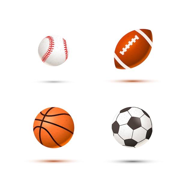 Ensemble de balles de sport réaliste pour le football, le basketball, le baseball et le rugby, isolé Vecteur Premium