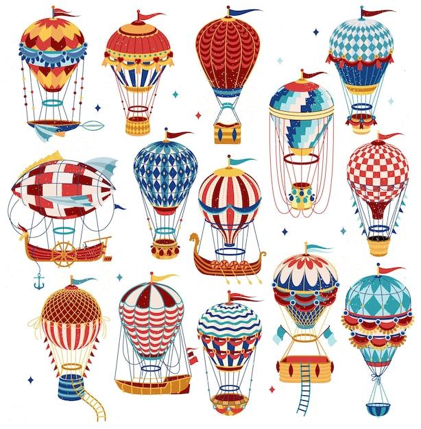 Ensemble De Ballons à Air Chaud Colorés Isolé Sur Fond Blanc. Vecteur Premium