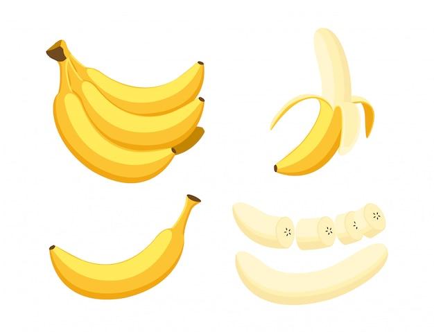 Ensemble de bananes fraîches Vecteur Premium