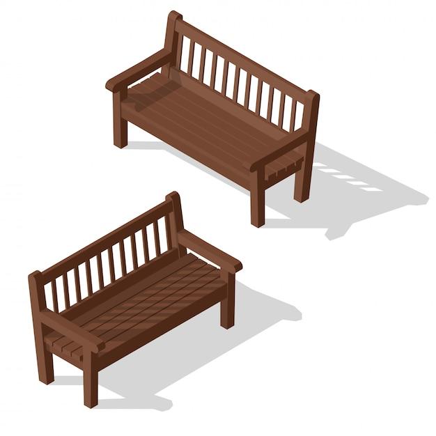 Ensemble de bancs de parc en bois. Vecteur Premium