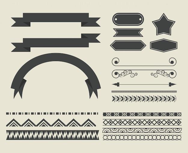 Ensemble de bande dessinée de ruban décoratif Vecteur gratuit