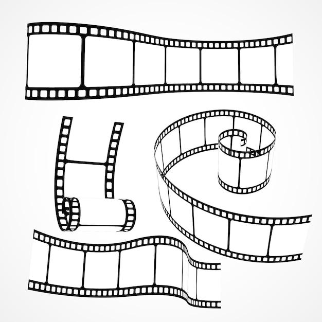 Ensemble de bandes de bandes de film 3d Vecteur gratuit