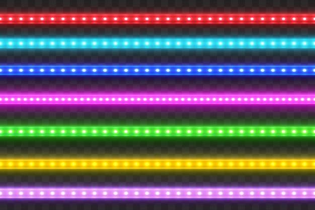 Ensemble de bandes colorées réalistes led sans soudure. Vecteur Premium
