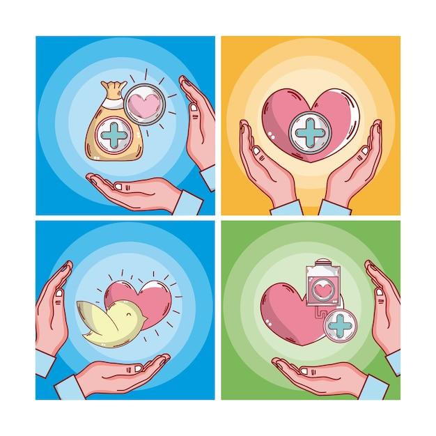 Ensemble de bandes dessinées de cartes de sang de don Vecteur Premium