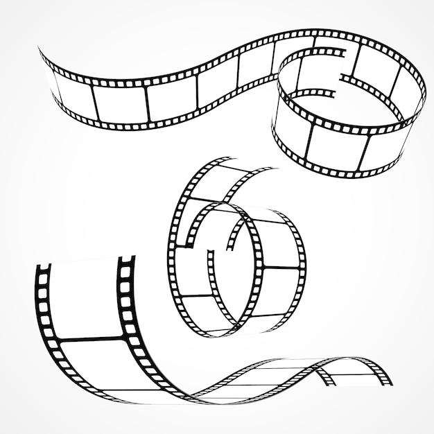 Un ensemble de bandes de film 3d Vecteur gratuit