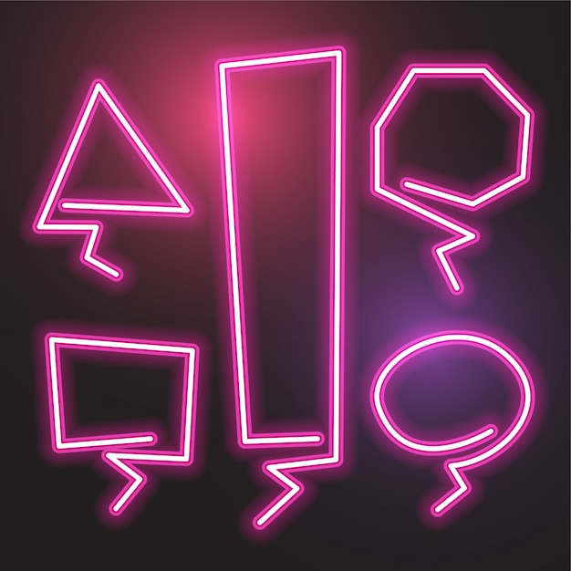 Ensemble de bannière abstrait vector néon. conception de modèle rose. Vecteur Premium