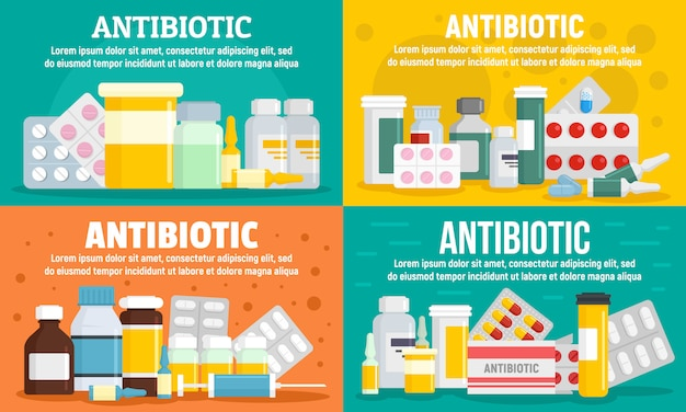 Ensemble de bannière antibiotique Vecteur Premium