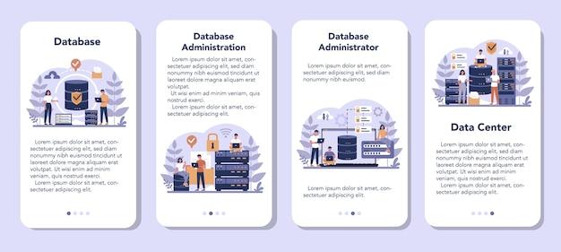 Ensemble De Bannière D'application Mobile Administrateur De Base De Données Vecteur Premium