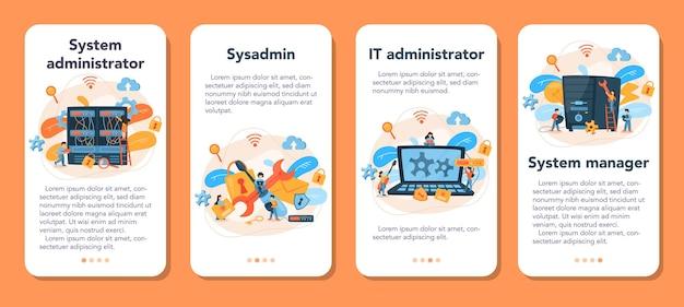 Ensemble De Bannière D'application Mobile Administrateur Système Vecteur Premium
