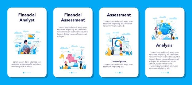 Ensemble De Bannière D'application Mobile Pour Analyste Financier Ou Consultant. Vecteur Premium