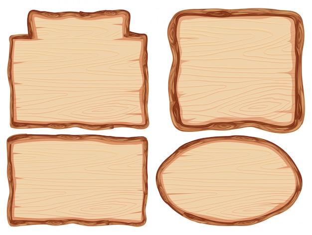 Ensemble de bannière en bois Vecteur Premium