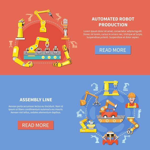 Ensemble De Bannière De Bras Robotique Vecteur gratuit