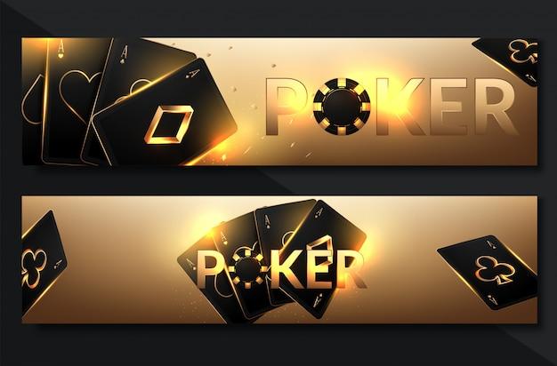Ensemble de bannière de casino sertie de jetons de casino et de cartes Vecteur Premium