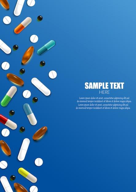 Ensemble de bannière colorée de pilules et capsules Vecteur Premium
