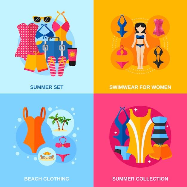 Ensemble de bannière décorative de maillots de bain Vecteur gratuit