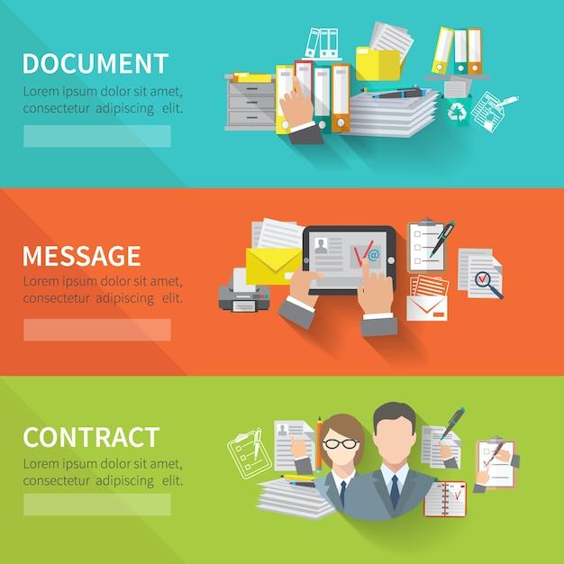 Ensemble De Bannière De Document Vecteur gratuit