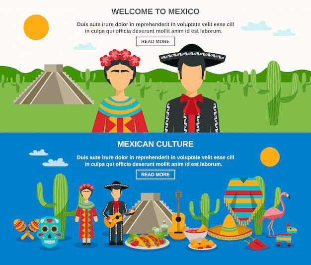 Ensemble de bannière du mexique Vecteur gratuit