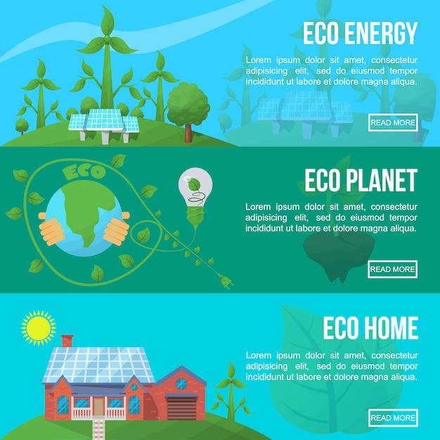 Ensemble De Bannière D'écologie Vecteur gratuit