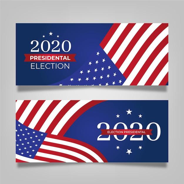 Ensemble De Bannière De L'élection Présidentielle Américaine 2020 Vecteur Premium