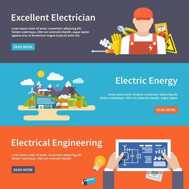 Ensemble de bannière d'électricité Vecteur gratuit