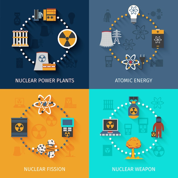 Ensemble de bannière d'énergie nucléaire Vecteur gratuit