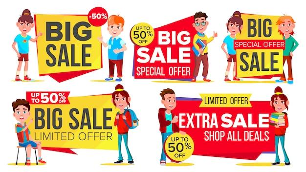 Ensemble de bannière de grande vente Vecteur Premium