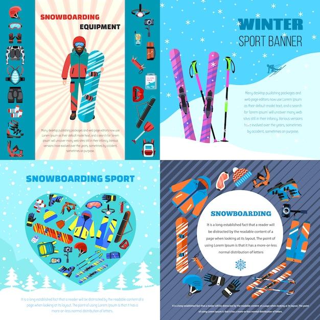Ensemble de bannière hiver snowboard équipement. illustration plate du matériel de snowboard en hiver Vecteur Premium