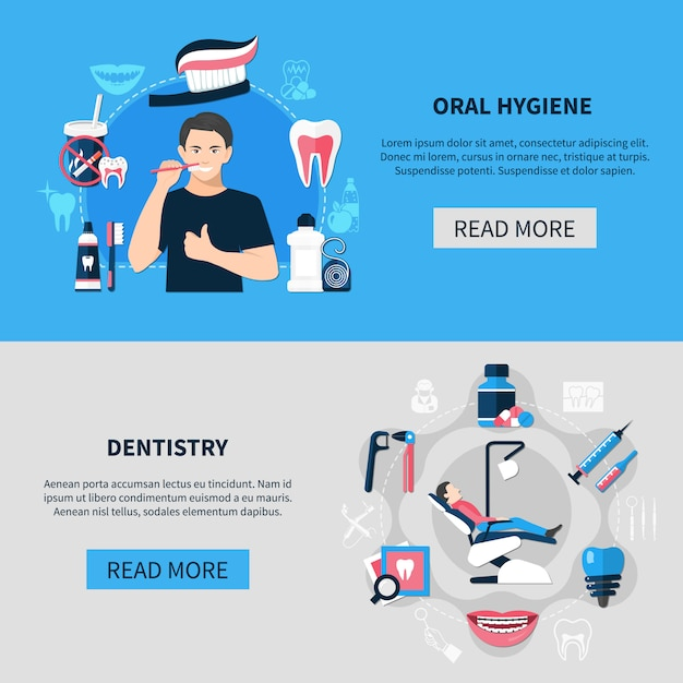 Ensemble De Bannière Horizontale Dentaire Vecteur gratuit