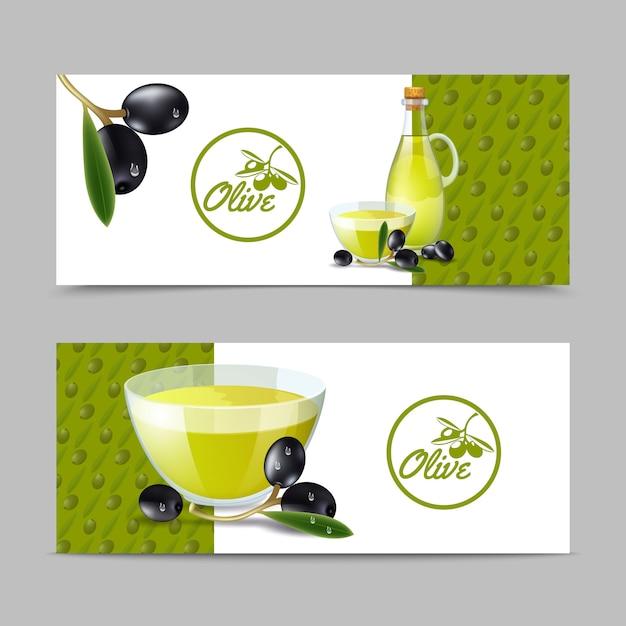 Ensemble de bannière à l'huile d'olive Vecteur gratuit