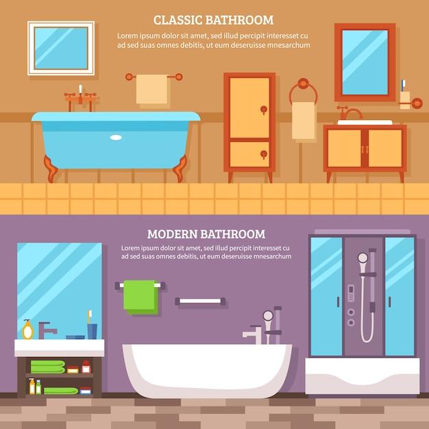 Ensemble de bannière intérieur de salle de bain Vecteur gratuit
