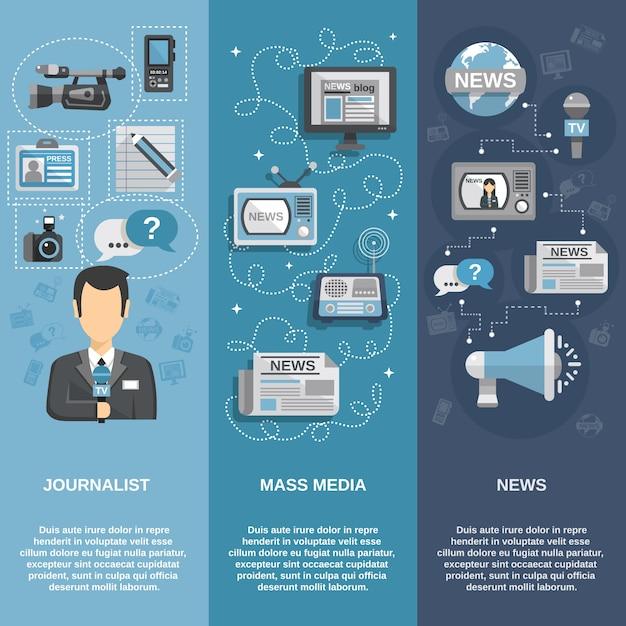 Ensemble de bannière de journaliste Vecteur gratuit