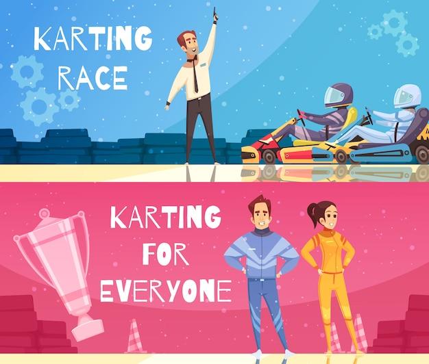 Ensemble de bannière de karting Vecteur gratuit